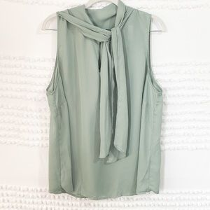 Sage tie neck shell pussybow sleeveless blouse 1x